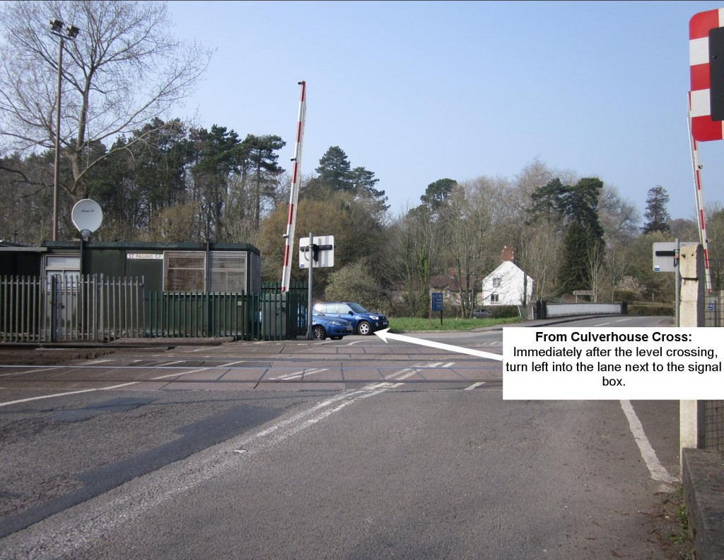 Approaching the St. Fagans level-crossing from Culverhouse Cross, turn left into the lane immediately after the level crossing